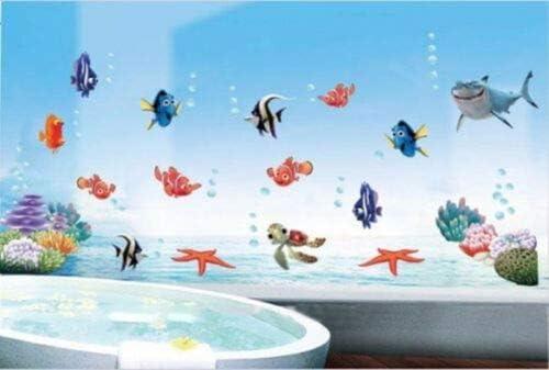 Finding Nemo Shark Fish Bathroom Mural Wall Decals Decor Kids Fun Popular Fashion for Boys Girls Living Room