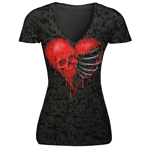 Skull Womens Tee - TOOPOOT Women's V-Neck Punk Skull Print T-Shirt Tops (M, Heart-Shaped)