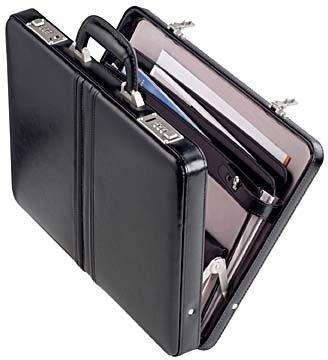 Schmaler Aktenkoffer 43x33x7cm - Echt Leder - schwarz DERMATA-Lederwaren