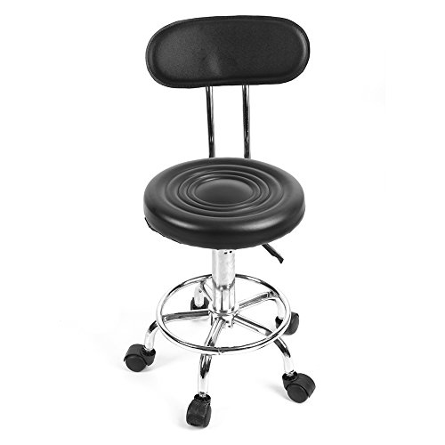 Salon Stool, Adjustable Height Rolling Swivel Black Barber Chair with Backrest for Barber Massage Beauty Tattoo Studio