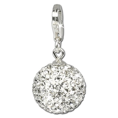 SilberDream Glitter Charm Swarowski Elements ball white shiny 925 Sterling Silver Charms Pendant for Charms Bracelet, Necklace or Earring GSC205
