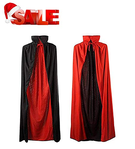MEZETIHE 35'' Black and Red Halloween Cloak Magician Cape Cosplay Costumes for Boys Girls for $<!--$13.99-->
