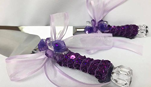 Purple Cake Knife & Server Set All Occasion (Knife Wedding Favors)