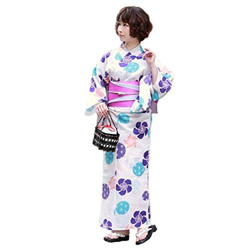 必要波バースト浴衣 レディース セット 生成り地に紫ねじり梅と鞠 ときめき恋浴衣3点セット 生成り