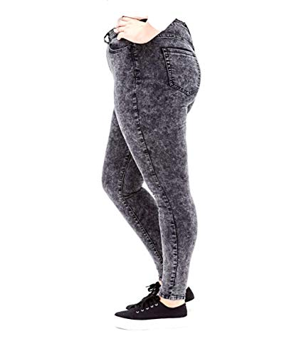 5IVE Women's Plus Size Stretch Black/Blue High Waist Denim Jeans Pants Skinny Leg (20, Jack David Y1672A Black Acid WASH) (Plus Size Acid Wash Jeans)
