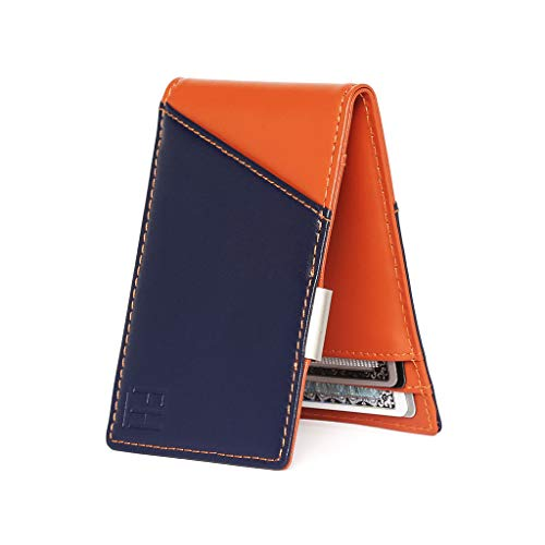 F&H Signature Slim RFID Money Clip Wallet in Top Grain Leather (Navy/Rust)