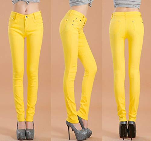 Snone Slim Pantaloni Matita Jeans Skinny Casual Elasticità Trend Stile Corti Lunghi A Donna Autunno Sottili Giallo Leggings rqCXr