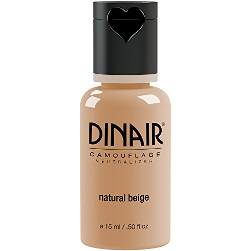 Dinair Airbrush Makeup Foundation | Natural Beige 0.50 oz | Camouflage Neutralizer - Covers Scars, Acne, Tattoos, Vitiligo, Under Eye circles, Sun Spots -