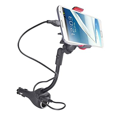 Alpatronix MX101 Universal Car Cradle Dock Station, Mount, Adapter with 2 Rapid USB Car Chargers, Power Outlet and 360° Degree Rotating Gooseneck Holder for Apple iPhone 6, 6 Plus, 5S, 5C, 5, 4S, 4 / Samsung Galaxy S6, S5, S4, S3, S2, Note 4, Note 3, Not