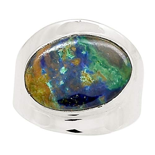 (Xtremegems Azurite in Malachite - Morenci Mines 925 Sterling Silver Ring Jewelry Size 8 25009R)