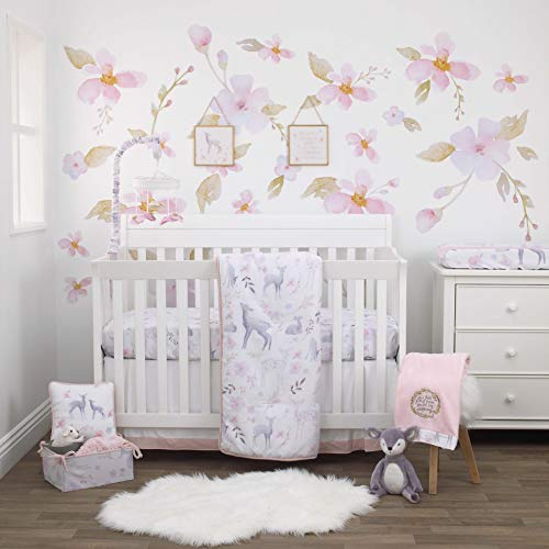 NoJo Watercolor Deer 4 Piece Nursery Crib Bedding Set – Comforter, 100% Cotton Sateen Fitted Crib Sheet, Dust Ruffle and Storage Tote – Pink, Grey, White, Pink, Grey, Blue, White