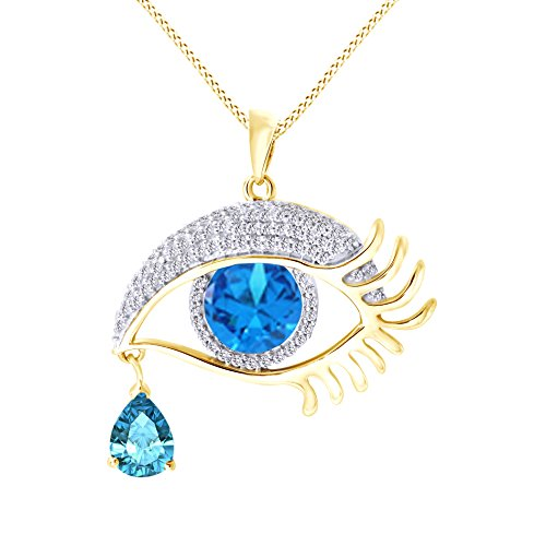 - Jewel Zone US Angel Eye Teardrop Simulated Blue Topaz Pendant Necklace in 14K Yellow Gold Over Sterling Silver