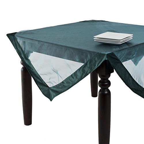 SARO LIFESTYLE 1639 Velveteen Tablecloths, 80-Inch, Square, Teal