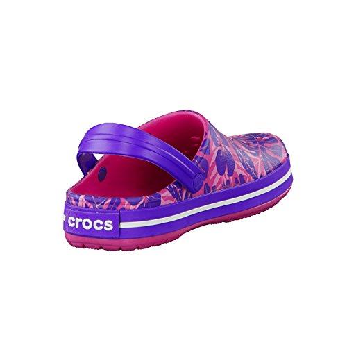 Crocs Crocband Sabots. Modèle Sabot Tropical Impression Crocband. Bonbon Rose / Ultraviolet