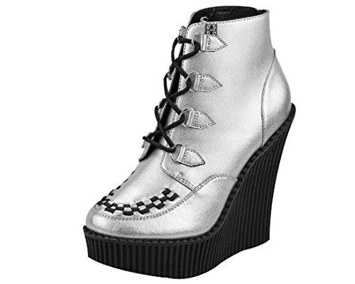 T.U.K. Women's A8380L Boot,Silver/Black,9 M US -