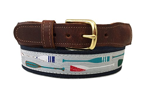 Preston Leather Gray & Navy with Multi Color Kayaking Canoeing Paddles Belt (34) (Crew Leather Belt)