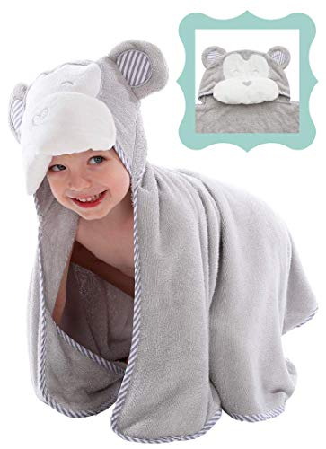 Large Hooded Baby Bath Towel with Hand Pockets | Made from Hypoallergenic, Ultra Soft, and Absorbent Organic Bamboo | Larger Size (40