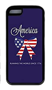 Soft Black TPU Back Cover for iPhone 5C,American Flag Bow Case for iPhone 5C,Blue Backgroung Case for iPhone 5C