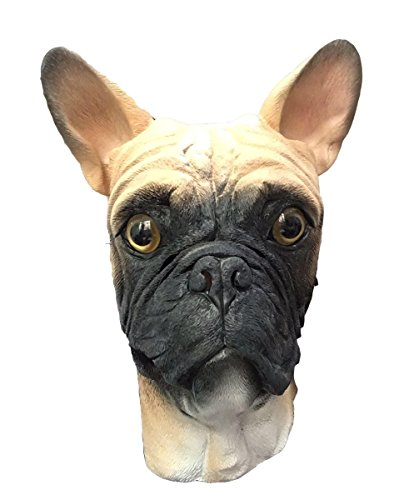 French Bulldog Dog Mask, Full Head, Deluxe Latex Animal Mask, Costume Masks (Blond)]()