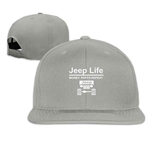 Jeep Life Money Parts Repeat Flat Bill Baseball Caps Snapback Hats Unisex Gray