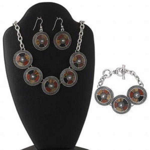 Necklace, earring and bracelet set, antiqued