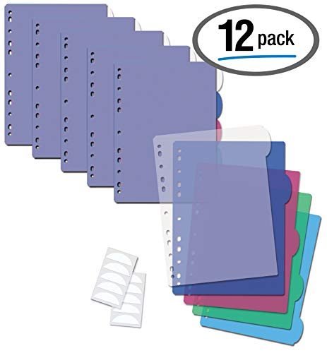 - 5 Tab Plastic Binder Index Dividers, Large Rounded Index Tabs, 12 Pack, by Better Office Products, Multicolored Poly Dividers for 3 Ring Binder, with White Labels, 12 Sets