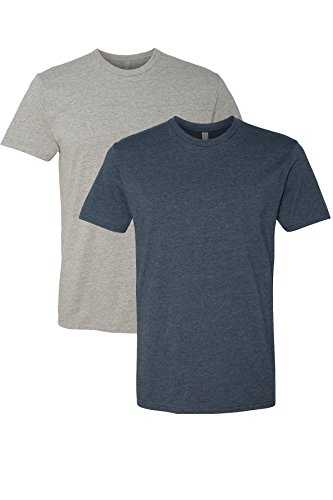 Next Level N6210 T-Shirt, Dark Heather Gray + Midnight Navy (2 Pack), Medium