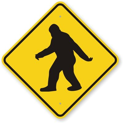 """SmartSign 3M Engineer Grade Reflective Sign, """"Sasquatch Big Foot Crossing"""" with Graphic, 12"""" square, Black on Yellow"""