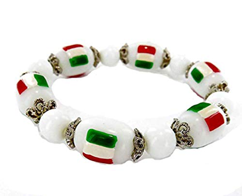 fiona Italy Flag Bracelet - Italia Beaded Bracelet for Women Gift – Itlian Banner Stretch Bracelet – Gift for Her Women Girlfriend Wife – World Cup Travel Souvenir Soccer Fans Bracelet ()