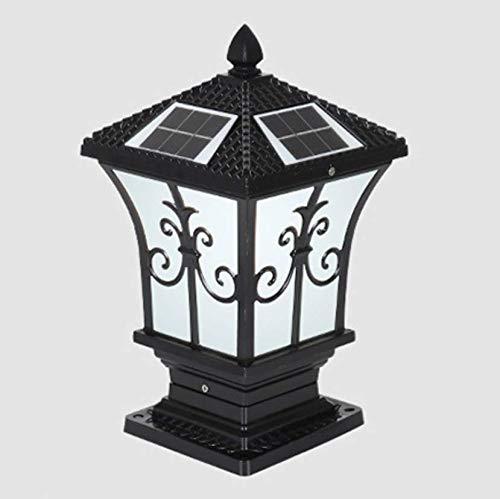 SIMGULAMP Column Post Light Solar Powered,European Small Column Solar Post Light Outdoor Waterproof Post Lamp Solar Villa Garden High Brightness E27 (Size : Height 37cm),Black,WhiteLight