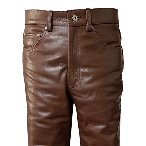 Olly And Ally Real Brown Cow Leather Sleek & Sexy 501 Style Jeans Pants Trouser Bikers W34 X L34