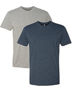 N6210 T-Shirt, Dark Heather Gray + Midnight Navy (2 Pack), Large