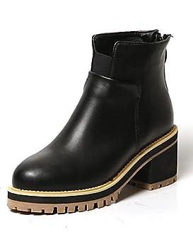Zapatos de mujer - Tacón Robusto - Plataforma / Botines / Punta Redonda / Punta Cerrada - Botas - Vestido / Casual - Semicuero - Negro ...