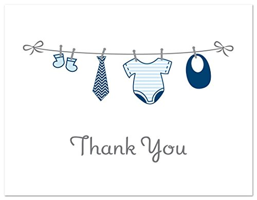 50 Cnt Hanging Baby Boy Cloth Baby Thank You Cards by MyExpression.com (Image #2)