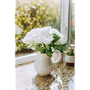 "Flora Bunda Artificial Flowers Faux Plant 11.5"" Tall White Peony in Ceramic Pot,White Peony 11.5"" 2"