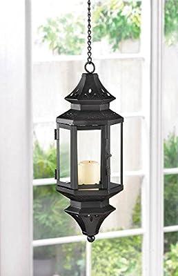 2 Hanging Moroccan Black Lanterns Lamp Clear Glass Candleholder