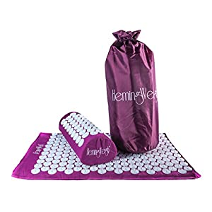 Gut Health Shop 41wC-IjAvXL._SS300_ HemingWeigh Acupressure Mat and Pillow Set with Bag, Massage Mat for Neck, Upper and Lower Back Pain Relief, Purple