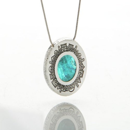 Eilat Stone Necklace Eilat Stone Jewish Jewelry Silver Necklace Eilat Stone Eilat Stone Pendant Jerusalem Silver Necklace ()