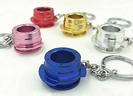 1x Lenkradnabe Schlüsselanhänger schwarz / blau / Lila / gold / silber / rot / pink / Alu Schlüssel Lenkrad Nabe Anhänger (blau) ore 7878
