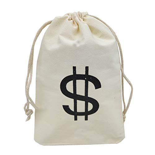 Sanrich 20 Pack Money Bags Drawstring Pouches Goody Bag 4.3 x 6.6 inches Canvas Dollar Favor Bags For Themed Birthday Party
