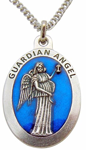 Guardian Angel Large 1 1/2 Inch Pendant Blue Enamel Medallion Medal Silver Tone Metal Alloy Made in Italy