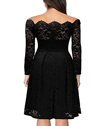 Vintage Encaje Vestido de Mujer Un Hombro Manga Larga Elegante Vestido de Novia Negro