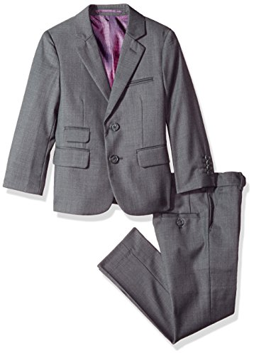 Isaac Mizrahi Boys' Big' Solid 2pc Slim Fit Wool Suit, Charcoal, 12