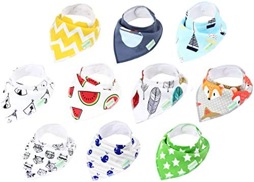 10-Pack Unisex Baby Bandana Drool Bibs for Babies,Toddlers - Organic Cotton Absorbent Bib Bandana (Neutral Pattern)