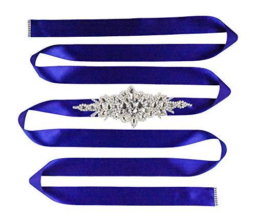 Mandala Crafts Bridal Sash Belt with Crystal Rhinestone Satin Ribbon for Wedding Gowns, Prom, Formal Dresses for Women (Plain Rhinestone, Royal Blue)