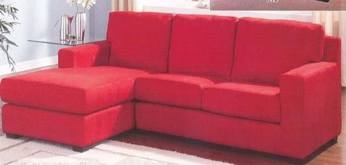Cheap Reversible Sectional Red Microfiber Sofa Chaise