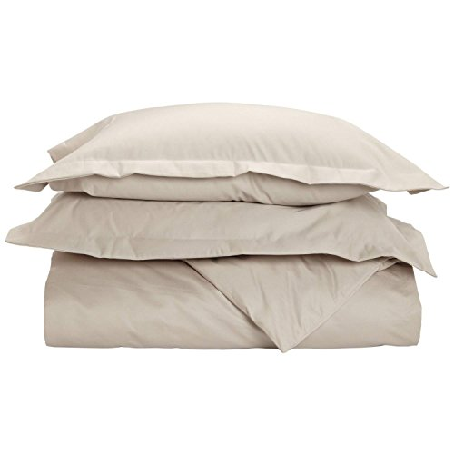 Superior 1500 Thread Count King/California King Duvet Cover Set, Solid, Single Ply, Stone ()