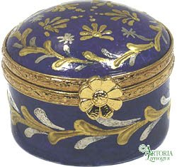 Mini Porcelain Box - Mini Round - Hand Painted Limoges Box.