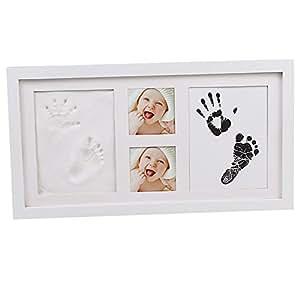 Hense bebé Kit de mano y la huella Marco de fotos, niños y niñas recuerdos memorables, Premium arcilla y marcos de madera de estilo clásico (precio: 19,39€)