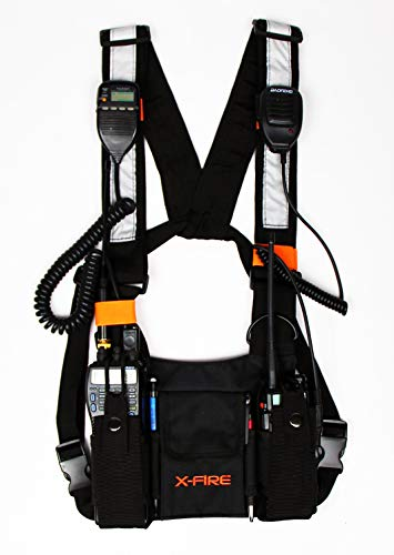 X-Fire (TM) Dual Radio Chest Harness New Universal Carry Front Pouch Vest Rig for Two Way CB Ham Walkie Talkie Carry Case Pack Holster for Fire SAR Search Rescue Disaster Police Tactical LE Rigging ()